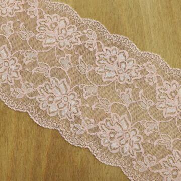 Csipke szalag – Elasztikus csipke rózsaszín színben, 14cm