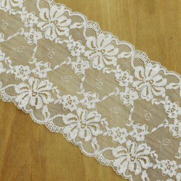 Csipke szalag – Elasztikus csipke fehér színben, 16cm