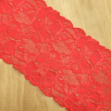 Csipke szalag – Elasztikus csipke piros színben, 18cm