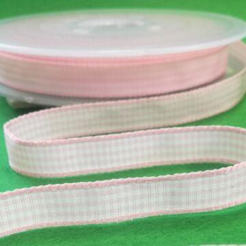 Szövött szalag – Rózsaszín és fehér kockás mintával, 10mm