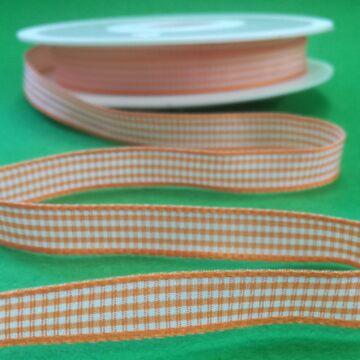 Szövött szalag – Narancssárga és fehér kockás mintával, 10mm