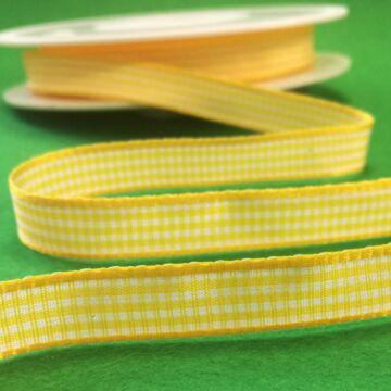 Szövött szalag – Citromsárga és fehér kockás mintával, 10mm