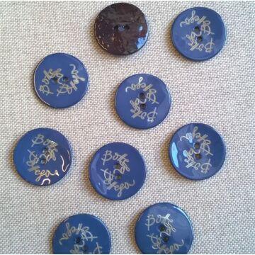 Kagyló gomb – Sötétkék színű porcelán bevonattal, Bottega