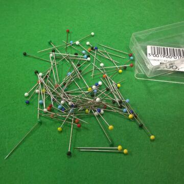 Gombostű – Színes üvegfejű, vas, 32mm-es