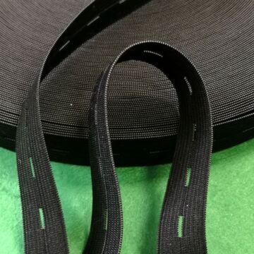 Gumiszalag – Gomblyukas, fekete,  20mm
