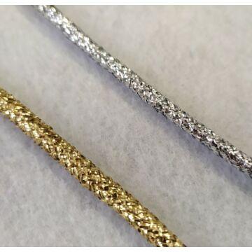 Fémszálas zsinór – Lurex borítással, ezüst és arany színben, 4mm