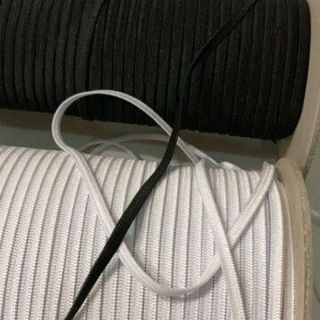 Gumiszalag –  Gumipertli laza, fehér és fekete színben, 4mm