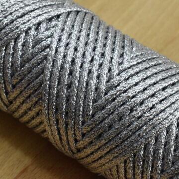 Fémszálas zsinór – Lurex borítással, ezüst színben, 4mm