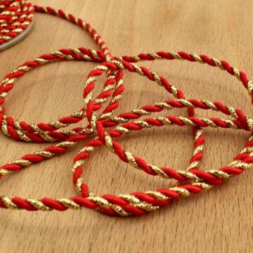Zsinór – Sodrott, arany és piros színben, 3mm