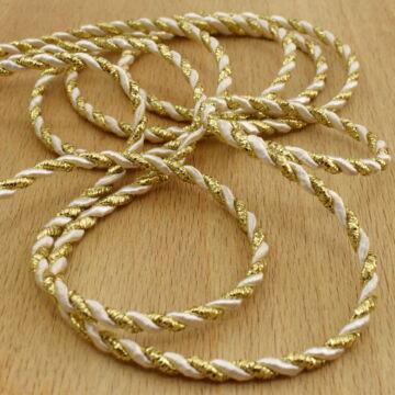 Zsinór – Sodrott, arany és fehér színben, 3mm