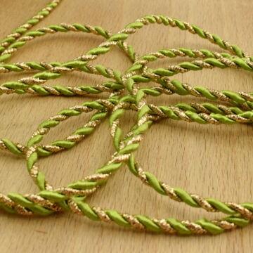 Zsinór – Sodrott, arany és zöld színben, 3mm