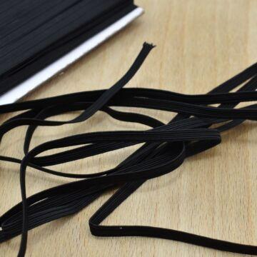 Gumiszalag –Bordázott gumi fekete színben, 5mm