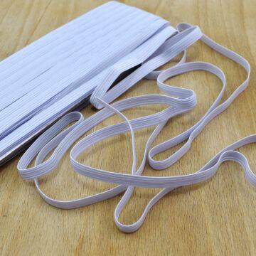 Gumiszalag – Bordázott gumi fehér színben, 8mm