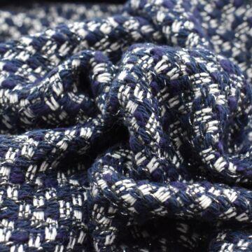 Chanel szövet – Sötétkék kockás mintával