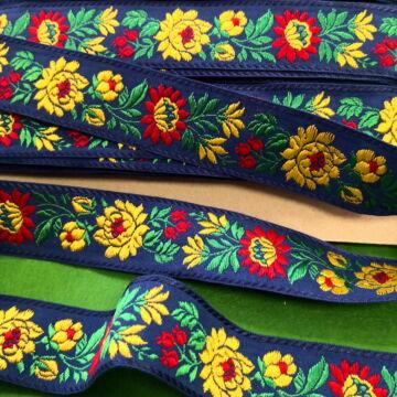 Hímzett szalag – Matyó mintával, kék alapon, 4cm