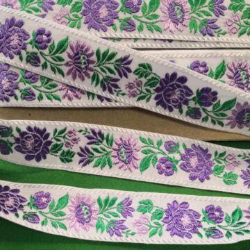 Hímzett szalag – Matyó mintával, fehér alapon, 4cm