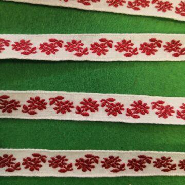 Hímzett szalag – Fehér alapon, piros hímzett virágokkal, 1cm