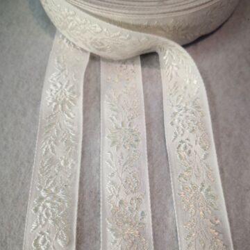 Hímzett szalag – Matyó mintával, fehér színben, 2,3cm