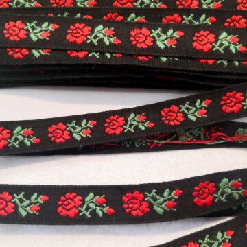 Hímzett szalag – Fekete alapon piros margaréta mintával, 1,5cm