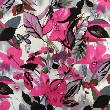 Viszkóz jersey – Rózsaszín virág és fekete levél mintával