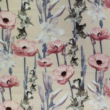 Barbi Crepe – Nyers alapon, függőlegesen futó virág mintával