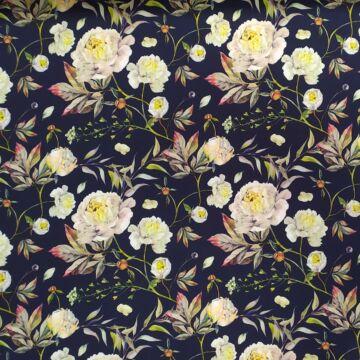 Barbi Crepe – Sötétkék alapon, rózsakert mintával