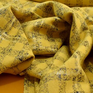 Scuba – Fényes kockás mintával, velúros, sárga