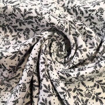 Flokon – Fehér alapon fekete virág mintával
