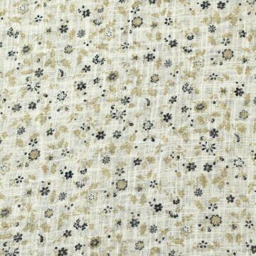 Géz anyag – Kék és barna kis virágos mintával