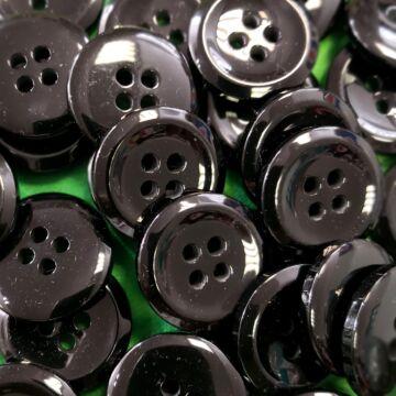Műanyag gomb – Kabátgomb fekete színben, négylyukú, 28mm