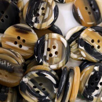 Műanyag gomb – Kabátgomb fekete és sárga színben, négylyukú, 25mm