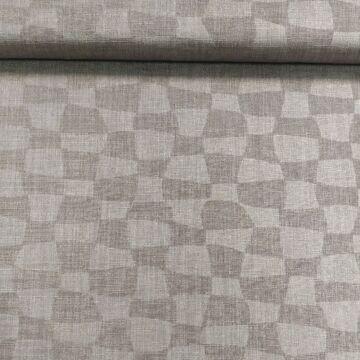 Műszál szövet – Fahéj színű, kockás mintával