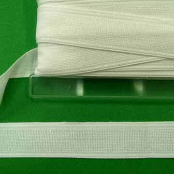 Hímző szalag 3cm - Fehér színben, fehér szegéllyel