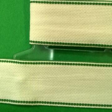 Hímző szalag 5cm - Nyers színben, zöld szegéllyel