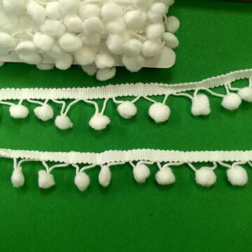 Paszomány - Fehér színben, lógó bogyókkal díszített