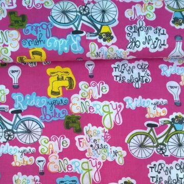 Pamutvászon – Kerékpáros mintával, pink alapon