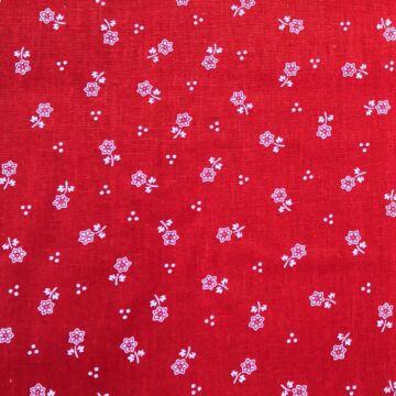 Pamutvászon – Piros alapon fehér virág és három pöttyös mintával