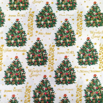 Pamutvászon – Karácsonyfa és arany feliratos mintával