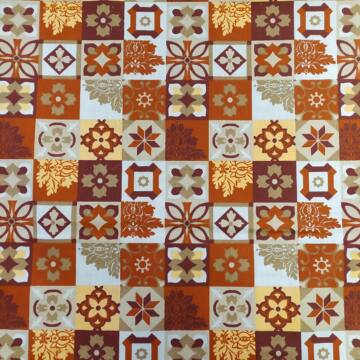 Pamutvászon – Mozaik mintával, terrakotta színben