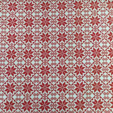 Pamutvászon – Fehér alapon piros norvég hópehely mintával