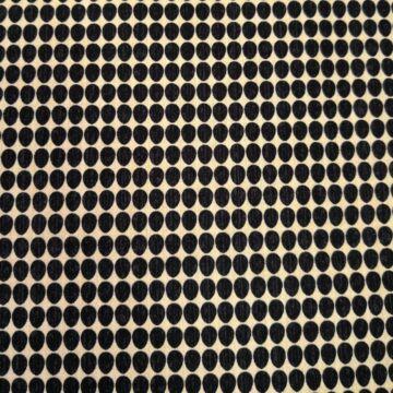 Extra pamutszövet – Bézs alapon fekete ovális mintával