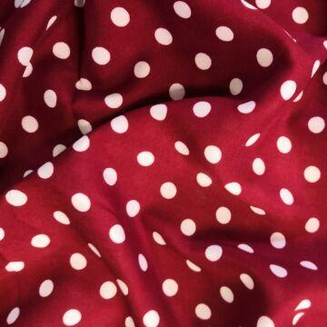 Viszkóz selyem – Bordó alapon fehér pöttyös mintával, 8mm