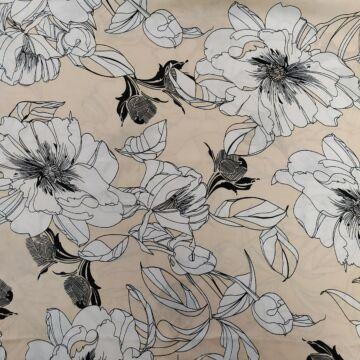 Viszkóz selyem – Nyers alapon fehér nagy virág mintával