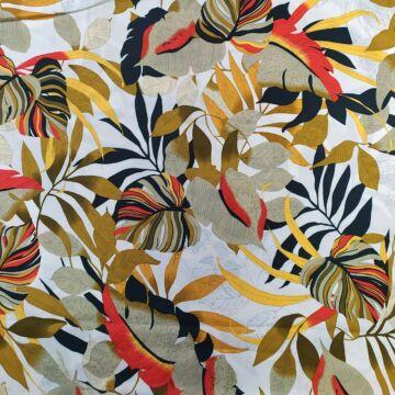 Viszkóz selyem – Fehér alapon színes levelek mintával