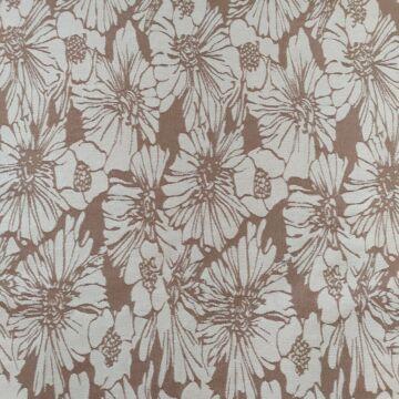 Jacquard szövet – Bézs alapon, fehér színű virág mintával