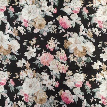 Viszkóz selyem – Fekete alapon, pasztel vinatge virág mintával