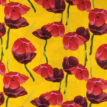 Viszkóz selyem – Sárga alapon, piros tulipán mintával