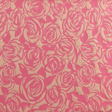 Jacquard szövet – Rózsaszín alapon nyers rózsa mintával