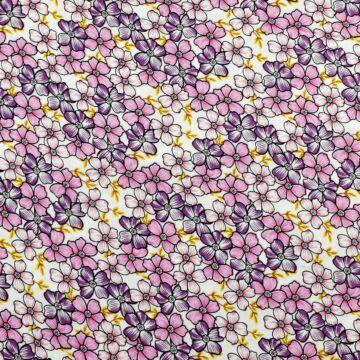 Viszkóz selyem – Rózsaszín és lila kis virágos mintával, DigitalPrint