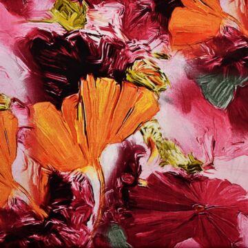 Viszkóz selyem – Nagyméretű absztrakt virág mintával, DigitalPrint